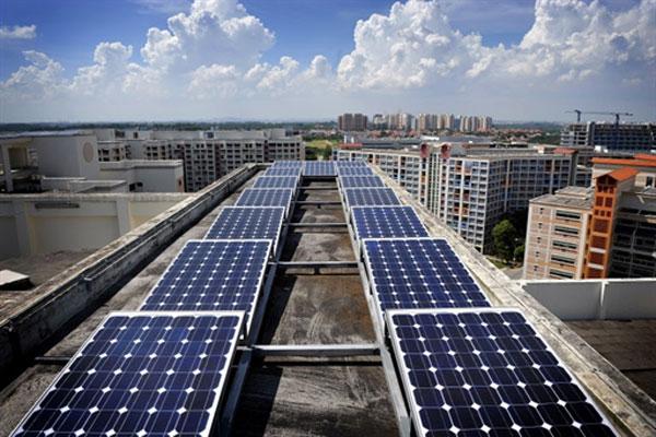 painéis solares em prédios