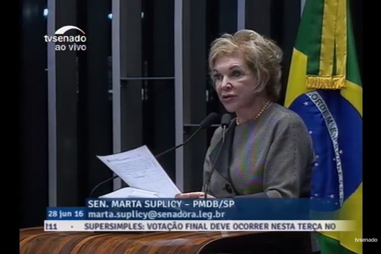 Senadora Marta Suplicy (PMDB-SP)