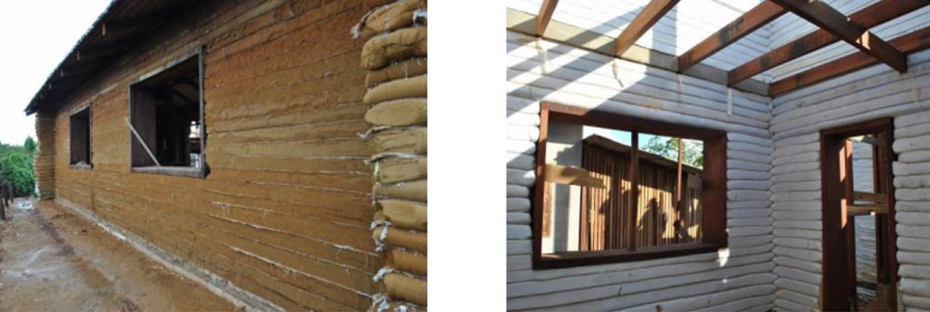 Construção feita com taipa ensacada
