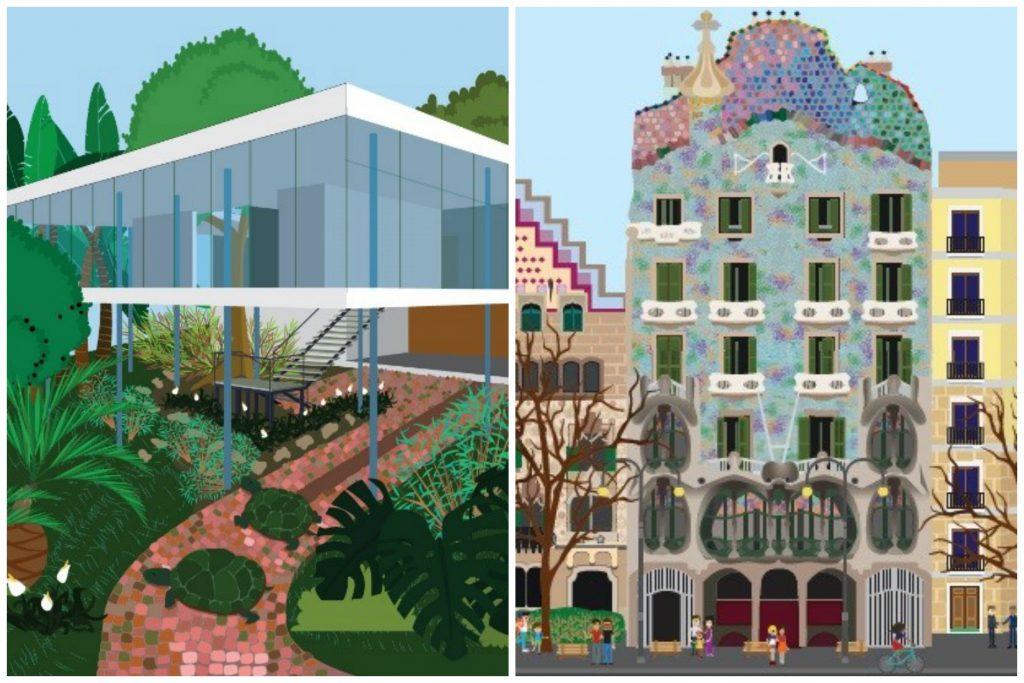 Casa de Vidro, de Lina Bo Bardi (São Paulo, Brasil) e Casa Batlló, de Gaudí (Barcelona, Espanha)