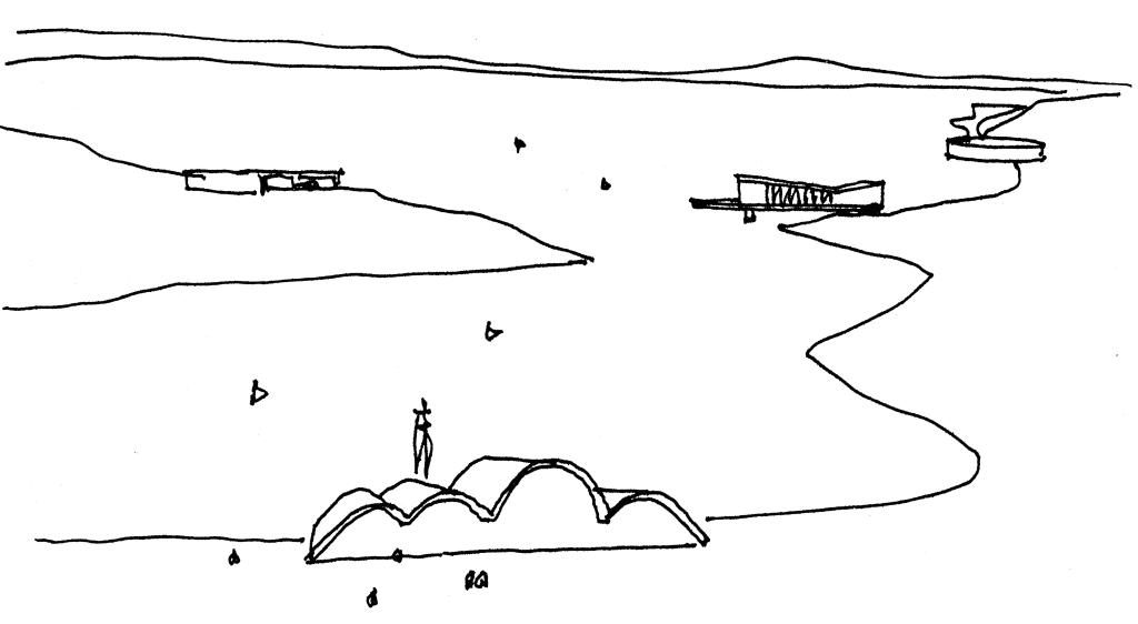 Croqui do Conjunto da Pampulha, feito por Oscar Niemeyer