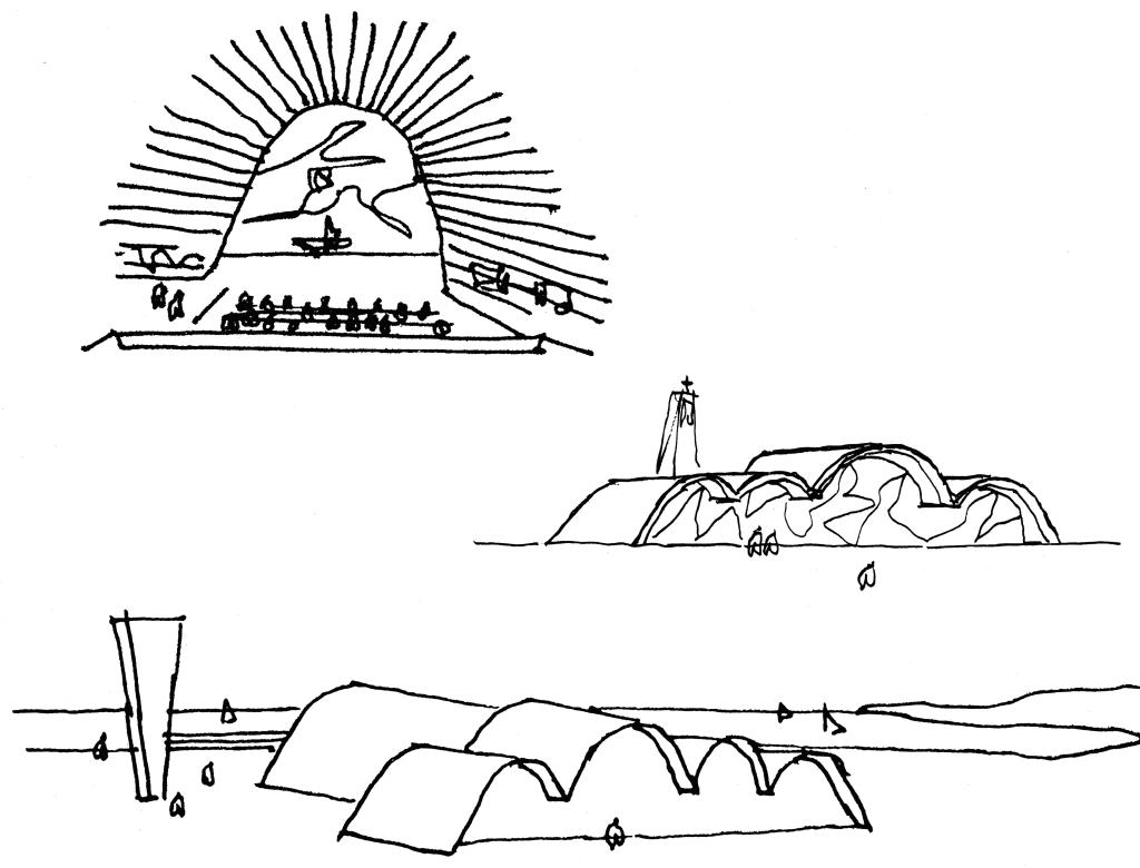 Croqui da Igreja S. Francisco de Assis, por Oscar Niemeyer