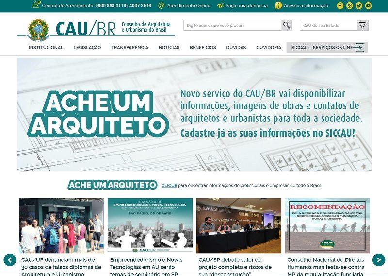 Print do novo site do CAU/BR