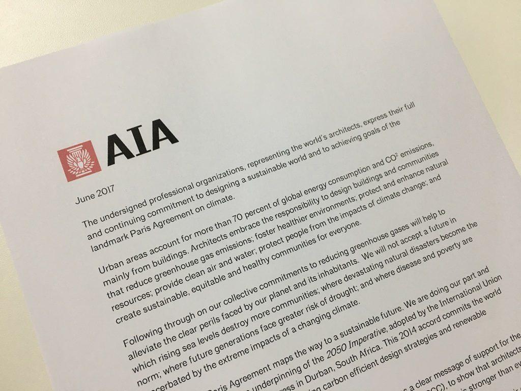 Carta em prol do Acordo de Paris foi assinada por conselhos de Arquitetura de vários países (Foto: CAU/BR)