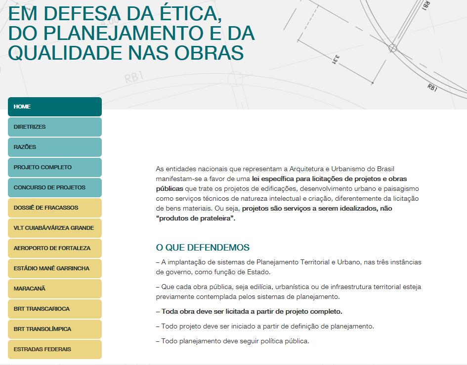 """Site """"Em defesa da ética, do planejamento e da qualidade nas obras"""", lançado durante o debate"""