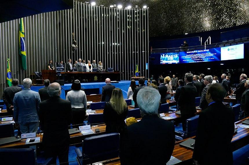Sessão solene reuniu senadores, deputados e arquitetos (Foto: Roque de Sá/Agência Senado)