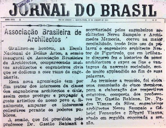 Ata da reunião de criação do IAB, publicada no Jornal do Brasil