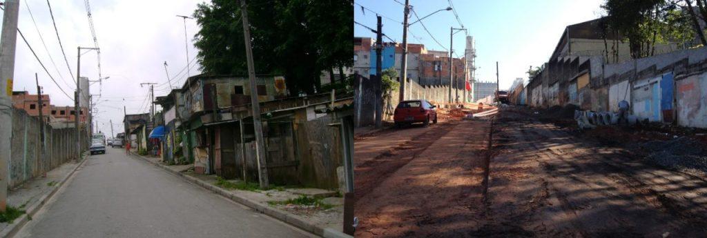 Local antes do início das obras, em 2010, e após a demolição dos barracos para o início das obras, em 2013: pouco espaço disponível