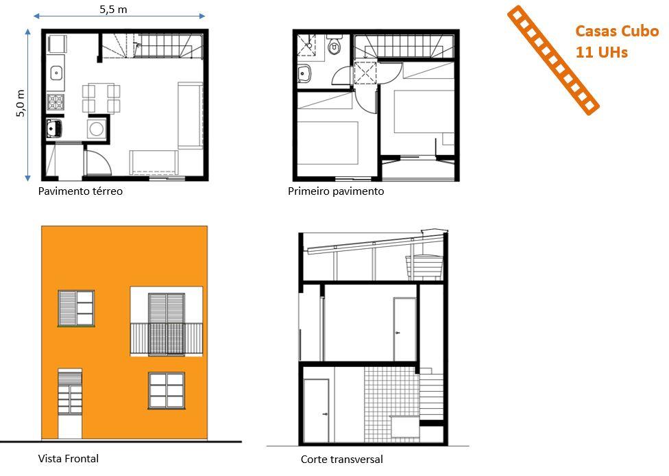 Projeto arquitetônico das 11 casas cubo do setor Novo Habitat