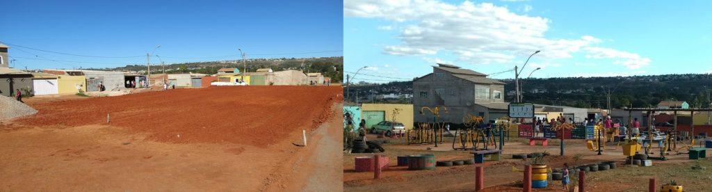 Praça do Ipê, em Buritizinho, na região de Sobradinho II, antes e depois de um mutirão comunitário organizado pelos arquitetos e urbanistas do escritório local