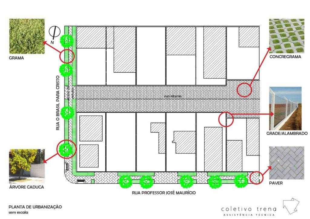 Planta de urbanização da área (Imagem: Coletivo Trena)