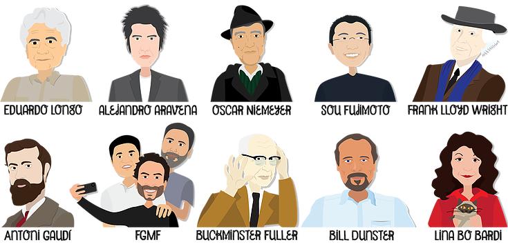 Os dez arquitetos retratados no volume 1 do projeto Casacadabra