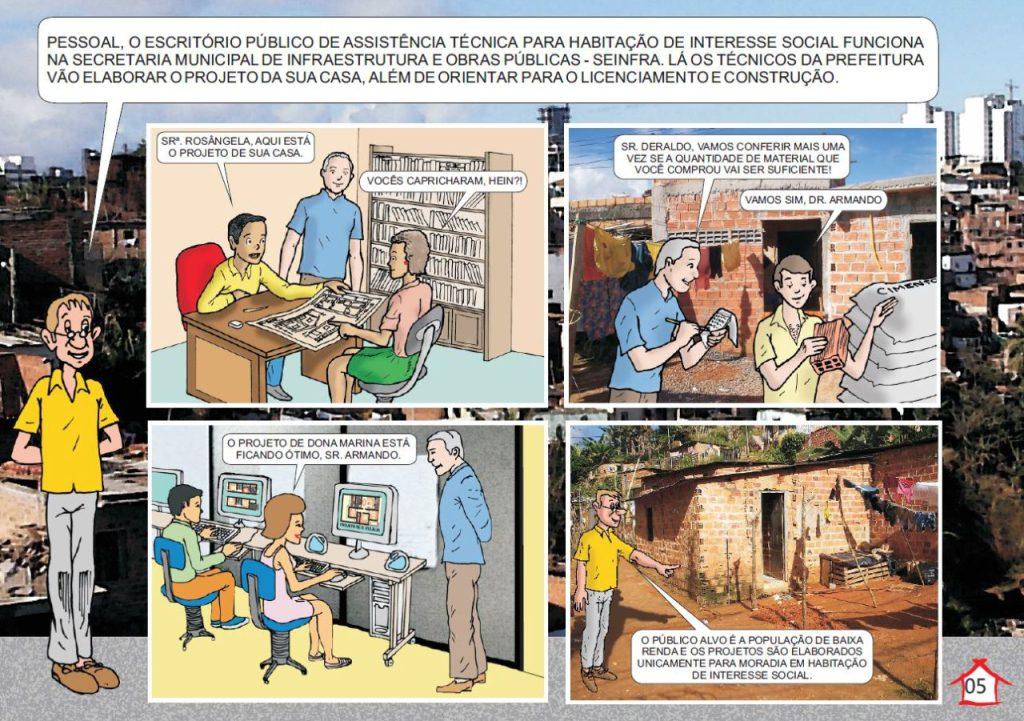 Página da cartilha com instruções para que a população entenda os serviços do Escritório Público