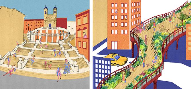 """""""Uma escadaria pode ser espaço de encontro? Por que não? Vamos conhecer a história da Escadaria da Praça de Espanha, em Roma, para entender as mudanças na cidade e como a população se apropria do espaço público. E à direita, o High Line, em Nova York, mostrando a cidade que passa por transformações"""", convidam as autoras"""