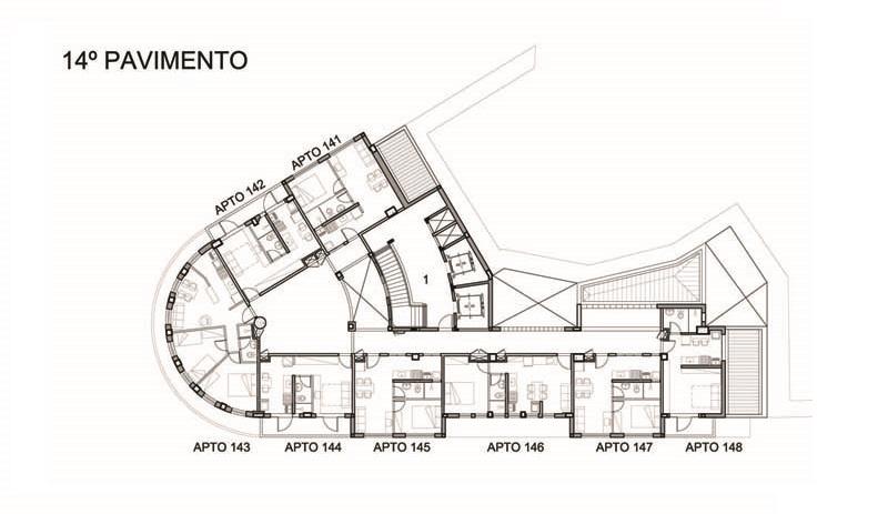 Planta do 14º andar: para manter a estrutura, paredes dos antigos escritórios não puderam ser derrubada