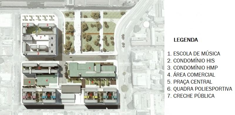 Complexo terá sete edifícios residenciais com comércio no térreo, a Escola de Música Tom Jobim, praça comercial no formato 'boulevard', quadra poliesportiva e creche pública