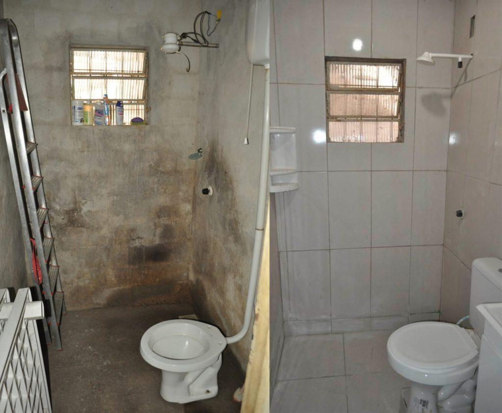 Antes e depois: Banheiro ganhou piso e revestimento de cerâmica nas paredes