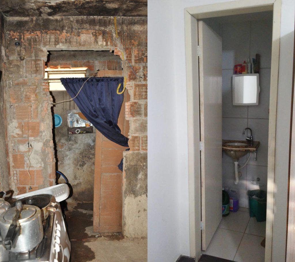 Antes e depois: Banheiro da casa da dona de casa Maria de Lourdes Costa ficava junto com a cozinha e não tinha porta