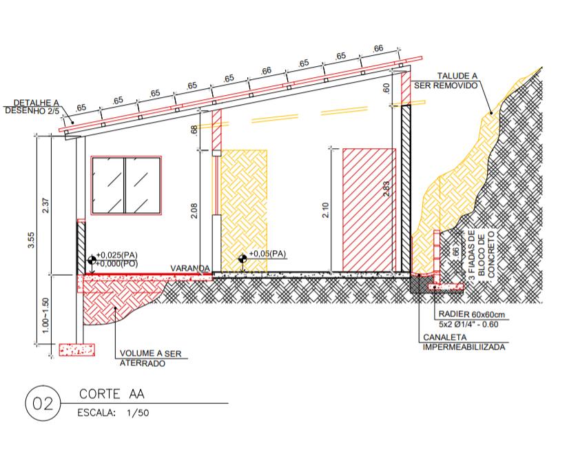Corte do projeto de reforma da casa da faxineira Jayana da Cruz