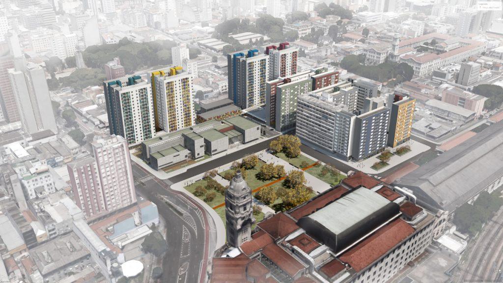 Renderização do projeto do Complexo Júlio Prestes, na região da Luz, em São Paulo