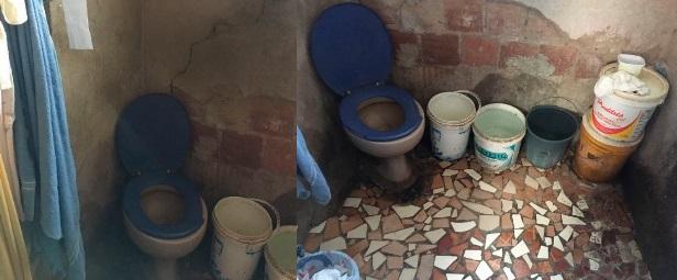 Banheiro da casa da ex-empregada doméstica Marinete Ribeiro, que depende do financiamento coletivo para ser concluído