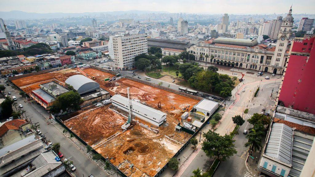 Canteiro de obras no início da construção do Complexo Júlio Prestes, em 2016