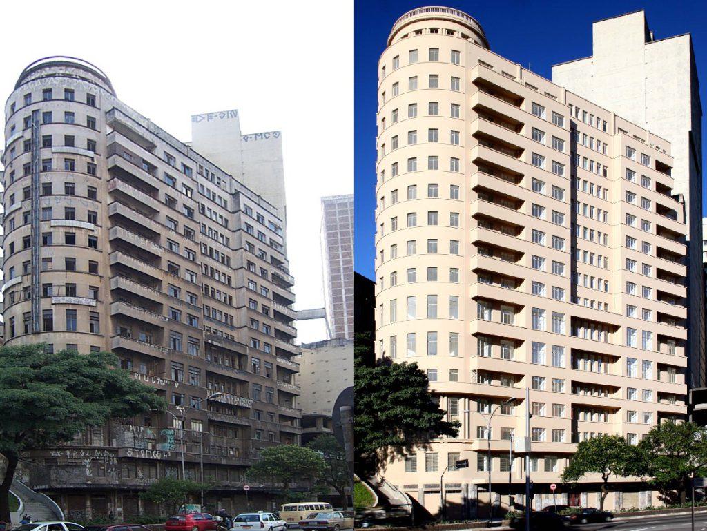 Antes e depois do Edifício Riachuelo, em São Paulo: reforma de prédios e requalificação de áreas nos centros urbanos foi o tema da sétima matéria especial